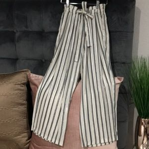 ZARA cream striped relaxed loose trousers